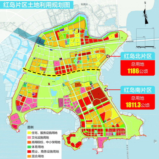 片区面积 南北总用地30平方千米 根据最新规划,红岛片区控制性详细