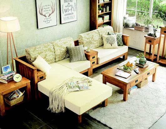 華誼家具旗艦店內預售的全實木組合沙發